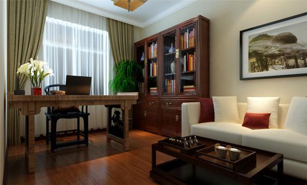 书房设计以花梨木为主的设计,书房是我们除了卧室外经常呆的地方,不仅可以工作也是休息的一个场所,中式古典书房设计在古色古香的原味中,在融入现代的元素让我们充分感受到古今置换。