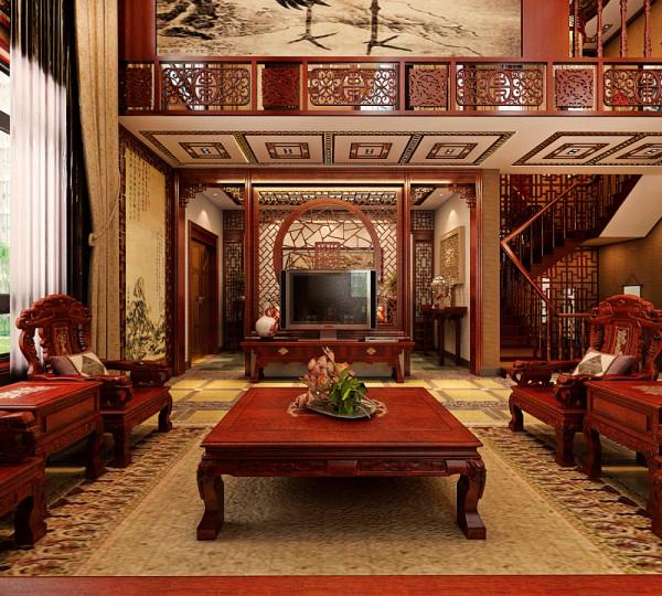 古典中式装修别墅简约,静怡,温馨,古朴格栅窗,暖色雕花吊灯,妙趣横生