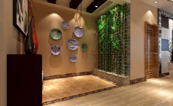 玄关,墙面的中式瓷盘,及绿竹,鹅软石,营造了传统中式所富有的中式元素。