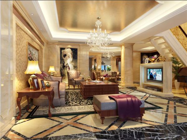 加以客厅吊顶金箔为辅助,让人感觉奢华亮丽的视觉效果,柱体包有暖色的大理石大气而不繁琐