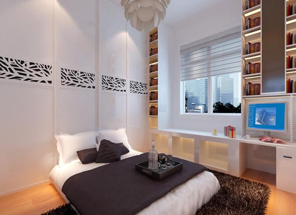 由于家居生活需要大量收纳空间,设计中要考虑收纳储物空间。窗户下面做了飘窗的设计将电脑桌内嵌进去,形成组合柜的形式,满足休闲,学习,生活的需要。