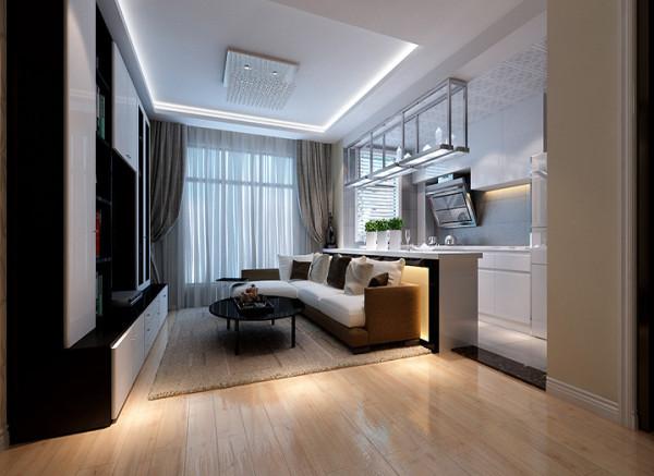 在这个方案中设计师将厨房的墙体拆除用敞开式厨房来提高整个起居室的采光及空间延伸性,吧台的设计既可以满足业主对基本生活的需求,同时也使整个空间具有设计感。