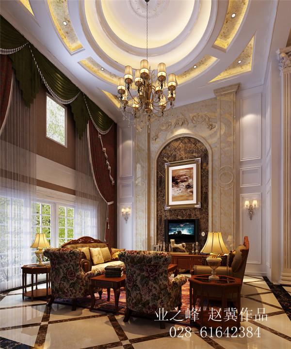 挑高客厅欧式风格效果图