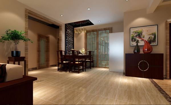 餐厅,整体围绕着简洁 而富有中式色彩的中式木板雕花贯穿墙与顶面。