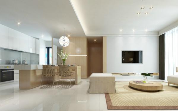 开敞式厨房与餐厅融为一体,大气个性张扬,配合上全房统一木色,让整个空间开阔、简结、明快让整个客餐厅空间有说不完的赏心悦目与时尚的格调。