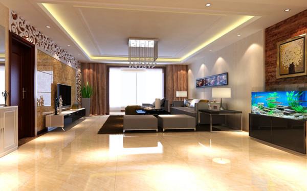 高饱和度的色彩电视背景石材和祥云花格的结合使简单的客厅多了一份充实 沙发背景和鱼缸墙面的凹凸体现客厅简单却不失层次.