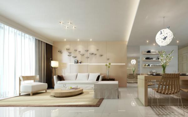 客厅沙发背景采用大面积原木色饰面板做清水漆,配合亮光飞鸟装饰让整个沙发背景个性十足。整个客餐厅地面用浅色地砖,突显整个家里清爽简洁格调。
