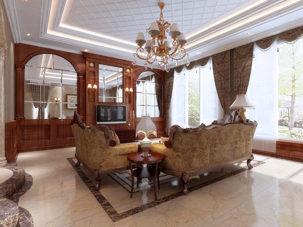 本案设计风格为美式风格,实木的纹理,清新的布艺沙发,复古的壁橱,流露出一股浓浓的美洲风情,客厅朱红色的实木桌,朴素花纹的地毯,瞬间给人一种尊贵之感。