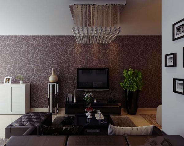 电视背景墙采用的是个性壁纸铺贴,与整体的客厅风格呼应,同时又带来一种视觉的冲击。在绿色植物的映衬下,悠然的情绪在瞬间流淌出来。