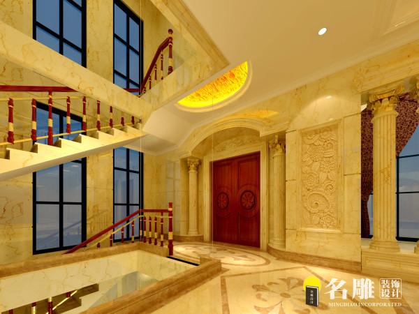 名雕装饰设计-欧式奢华别墅-1楼楼梯景观