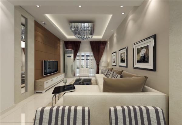 造型简单的客厅吊顶,配上现代风格的沙发、窗帘、茶几等,清新简洁,电视背景等一切以简洁为主。