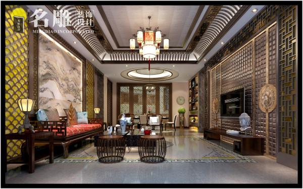 客厅:室内多采用对称式的设计方式,格调优雅,造型简朴优美,色彩浓重而成熟,表达对【清雅含蓄】【端庄风华】的东方式精神界的追求。
