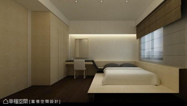 浅色木质搭上利落的深色机能线条,简单的收纳、梳妆为饭店式机能规划客房。