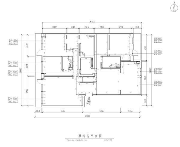 专家国际花园三居室户型原是测量图