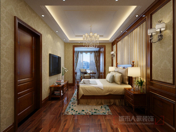 儿童房通着一个休闲阳台,男孩喜欢宽大的卧室所以没有摆放衣柜,把衣柜和电脑桌放在了休闲阳台上。