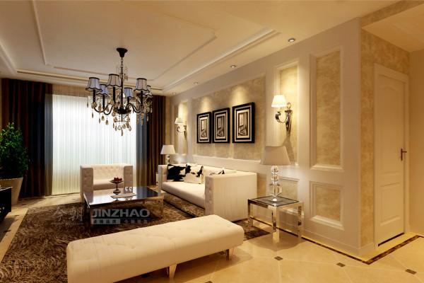 客厅侧面:奶白色的沙发很有现代的感觉,沙发背景墙的挂画带有一种现代的艺术感使得房间的立体效果更加明显。