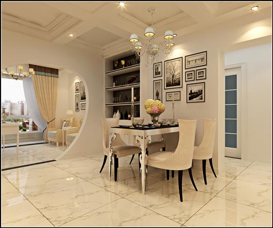 餐厅的布置简单雅致,充满格调的酒柜,造型独特的餐桌椅让餐厅别具一格。餐厅背景墙上的黑白挂画,为整个餐厅增加了艺术气息。