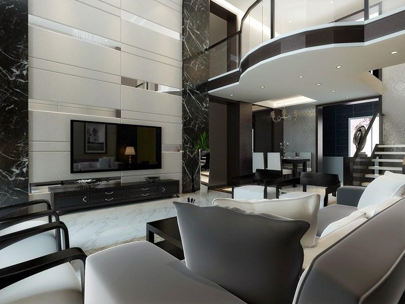 简约欧式田园混搭三居别墅白领收纳80后客厅装修效果