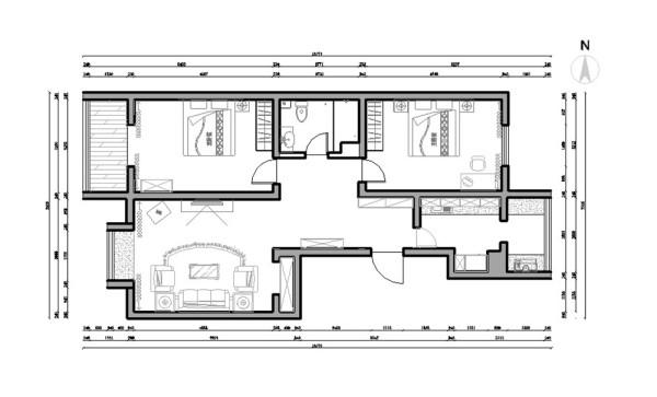 翰雅园 两室一厅一厨一卫,建筑面积110㎡,新中式风格。