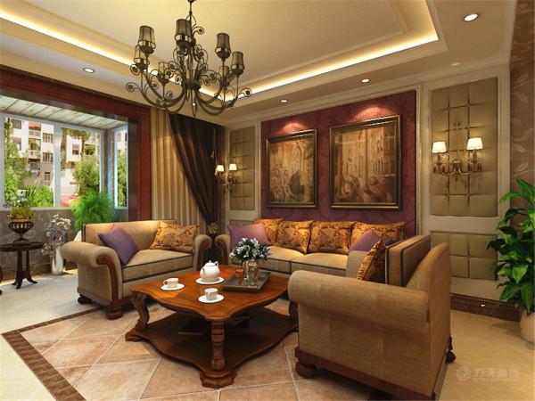 电视背景墙与沙发背景墙相对应,在沙发背景墙加了两盏壁灯,更加彰显欧式风格,客厅空间较大,在沙发的一边做了石材书柜