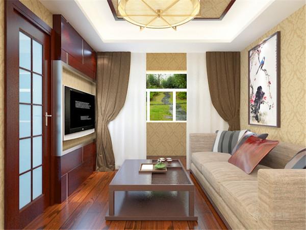 客厅做了回字形的吊顶,铺了深色的地板,用的浅色的墙纸,浅色的沙发与深色的茶几以及深色的电视背景墙形成了呼应。