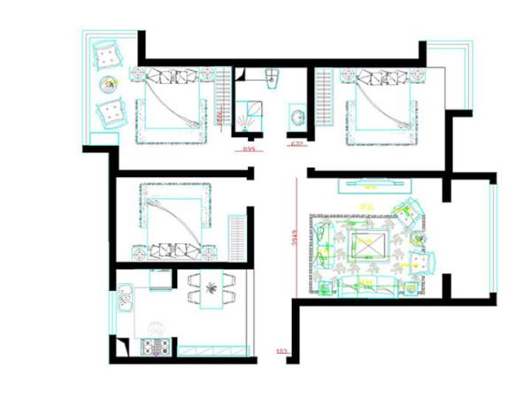 户型优点:区域划分明确,动静分离。整个户型的采光效果非常好。 户型缺点:入户门对着卫生间门,可能有些业主会比较在意这一点。最好最简单的解决办法就是把卫生间的门做成一个隐形门。