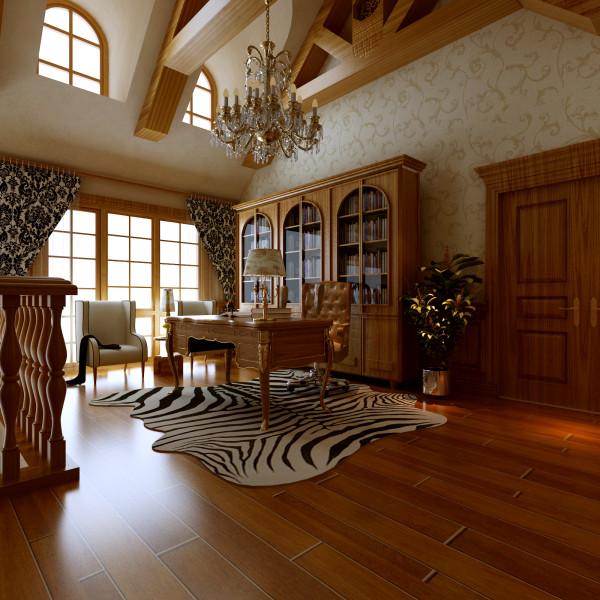 书房设计在二层楼梯过道处,因为空间比较大,又有大的落地窗,在此作为书房,既能很好的学习办公,还能观赏外面的美景,眺望下外面。虎皮纹地毯是美式的装饰之一,画龙点睛。