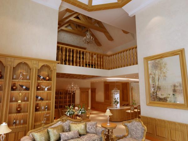 一层抬头看上面的吊顶,巧妙将原始户型的挑高造型结合美式特点,设计出协调一致的风情别墅。