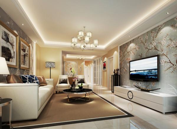 设计理念:餐客厅在结构上没有改动,设计师主要把亮点用在配色及沙发背景造型墙面上,电视背景选为和沙发背景不同的壁纸,很有层次且很雅致,更突显主人的品味。