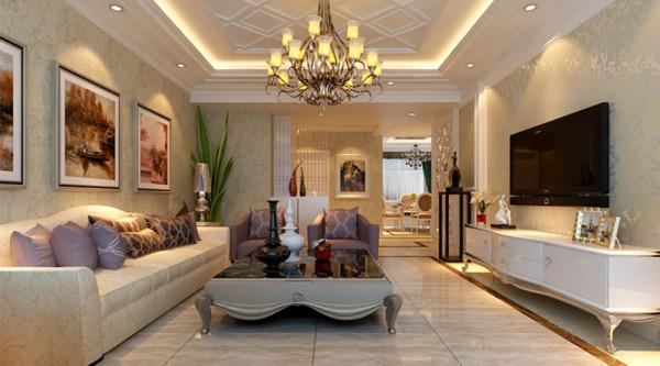客厅:天花的造型吊顶,电视背景墙的拱形造型加上罗马柱的搭配。赋予了整个空间奢华,大气的感觉。白色的运用使得整个空间明亮,大方。沙发后的墙面使用软包,又给整个空间增添了一丝柔美。