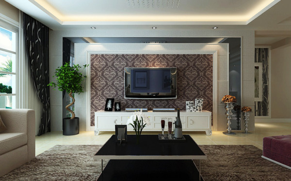电视背景墙以黑色烤漆玻璃做衬托,结合壁纸和石膏造型做对称,石膏角线,石膏板勾缝,花色深色壁纸结合搭配,让电视墙丰富但不复杂。