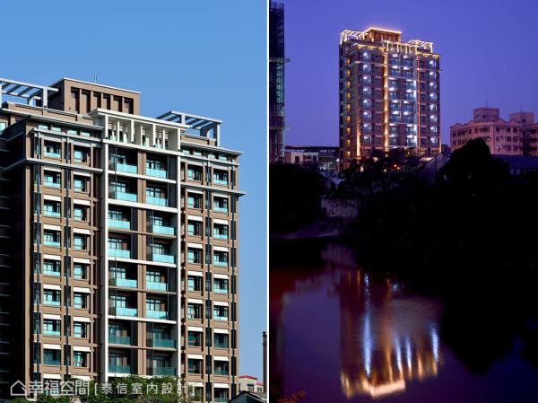 崭新的大楼豪宅紧邻水景绿地,夜幕时分在水面上投射动人倒影。