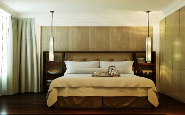 主卧室原本是一个套间,因为这原因造成了卧室的空间相对不足,结构上把套间的卫生间改成了衣帽间,隔断墙进行拆改,进而增加卧室部分的空间。