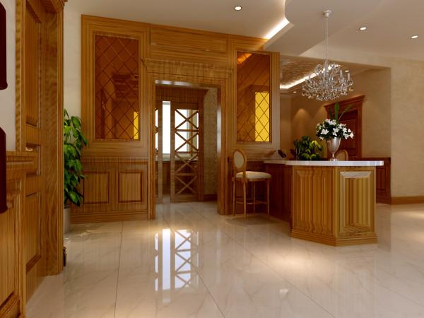 厨房空间比较宽敞,设计师做了些改动,将厨房缩小点,腾出空间做成吧台,既美观又实用大方;厨房都是柚木色的主色调,彰显出主人的生活品味。