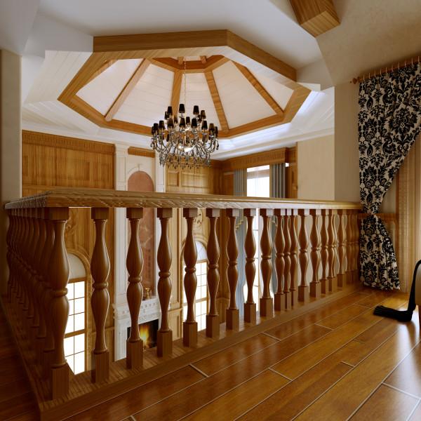 二层楼梯间美式风格:最亮眼的是吊顶,罩型顶配上水晶吊灯,木饰条跟