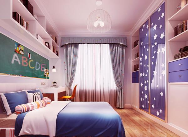 设计理念:儿童房整体以蓝色格调为主,在布局上根据儿童的使用,将书桌放置在光线最好的位置,床头背景以小黑板的形式作为装饰,同时也可在上面写字画画,充满童趣,增加了储物功能,也使孩子的玩具有了很好的归宿。