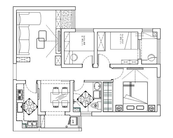 锦艺国际华都90平方两室两厅户型图