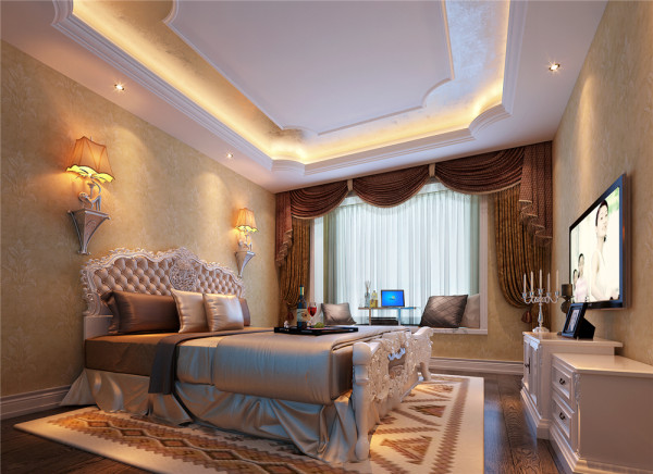 地面的拼花,很好的划分了客厅区域。客厅吊顶采用变形的直线与曲线相互作用的形式,构成了室内华美优雅的气氛。