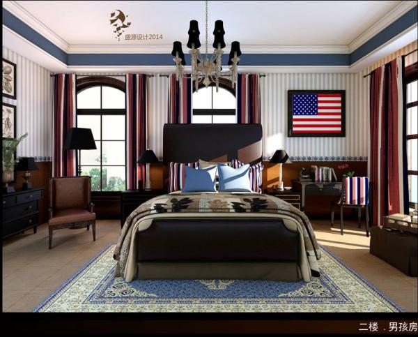 二楼男童房,完全的美式风格