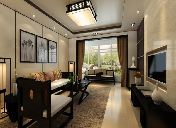 在具有新中式特色的客厅里,电视背景墙于沙发背景墙形成简单与复杂的对比,又避免了单调的相同运用不同材料的处理不经意的描绘了两幅不同的美丽画卷。