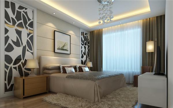 温馨放松是卧室设计的第一要素,暗花纹的墙纸更有问温馨的感觉。