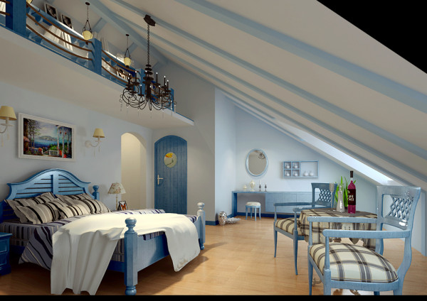 此户型是LOFT户型,楼上为住所,下面活动区,地中海风格极具亲和力的田园风情和柔和的色调,受到年轻人的向往。
