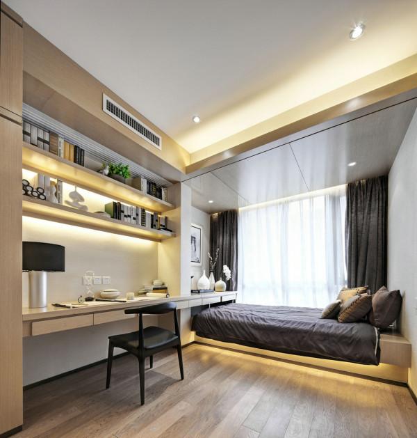 书房的设计上十分的简单,书房兼次卧的搭配满足了功能的多样化的使用。