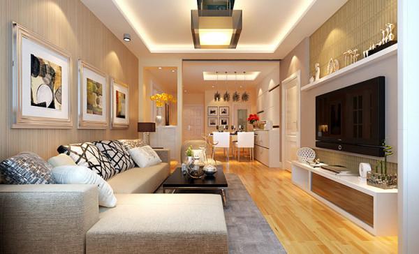 计理念:极简的风格的隔板居于电视的上方,可以摆放一些工艺品,加以点缀。而沙发背景墙则用壁纸装饰。 亮点:整体色调还是把控在暖色调上,局部运用白色进行平衡,使整个空间看起来更有质感。