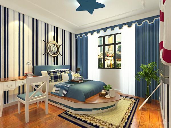 床罩就用了蓝白相间的颜色加以衬托。床的背景墙采用了邮轮的设计,更加凸显地中海风格的特点。