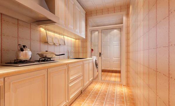 设计理念:厨房是使用频率最高的空间之一,本案的厨房整体色彩配色简单明亮,透明的厨房门又让厨房空间显得宽敞。