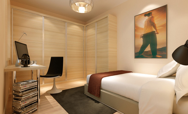 现代简约的卧室,简约而不简单,这不仅体现在材质上,更多的是实用层面的细节考虑,由于追求的是简约风格低调的奢华,所以在灯光上面选择的是偏黄的颜色,目的是增加空间金光闪闪的效果。使卧室更加温馨 和谐。
