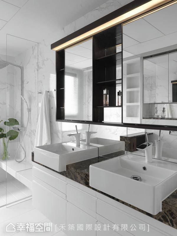 采取精品旅店式的双面盆规划,能够看出设计师贴心备至的机能细节。
