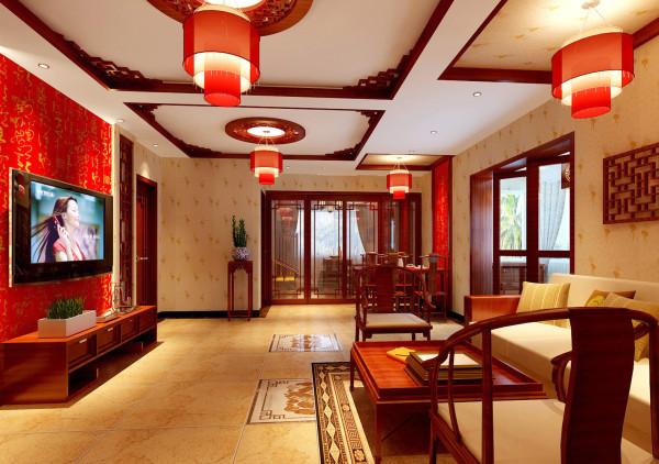 客厅及沙发背景、餐厅做了不同区域的划分,既是四部分也是两部分,同时也软化了中间的横梁,简单的中式实木格子及壁纸与吊顶的呼应融为一体,使得中式的味道尽显其中,