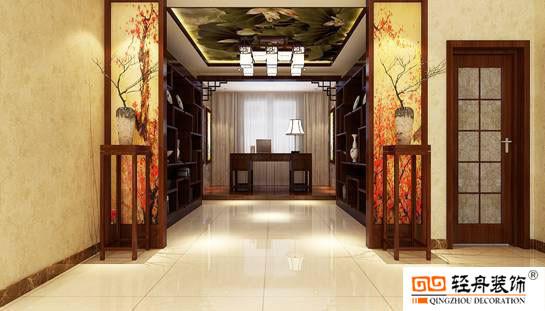半开放式的书房有一种浑然天成的大气,书房外的梅花图和屋顶上的荷花图展现出主人高雅的生活品格。整个书房的设计既有中式的诗情画意,又有着现代设计的简约时尚感。